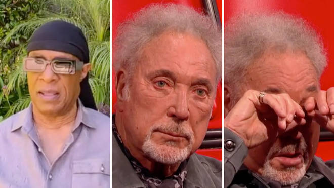 Tom Jones tears up after Stevie Wonder message