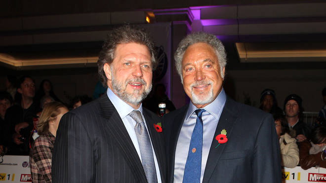 Tom Jones with son Mark Woodward in 2010