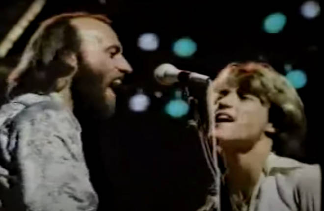 Andy Gibb got on stage with the Bee Gees for an impromptu performance of 'You Should Be Dancing' in 1979 and blew the audience away (pictured with Maurice Gibb)