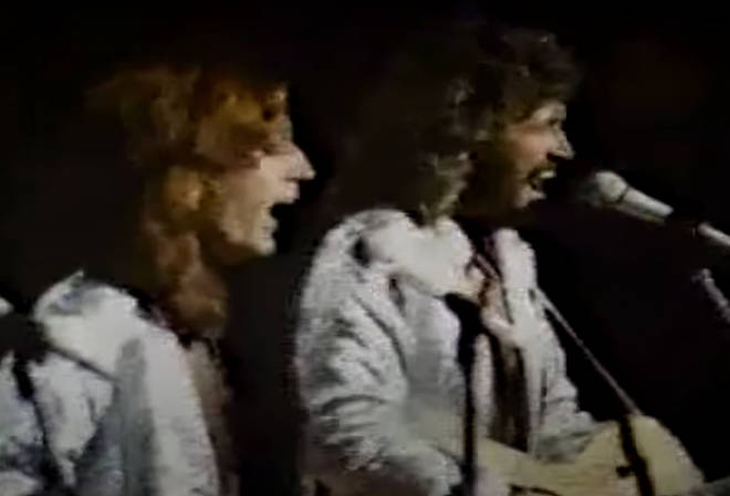 """Robin Gibb would later say of Andy&squot;s state of mind in the spring of 1988 that he """"just went downhill so fast... he was in a terrible state of depression."""" Pictured (L to R): Robin and Barry Gibb"""