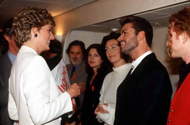 Princess Diana was famously friends with the likes of George Michael and Elton John, and is said to have enjoyed a night on the town with Freddie Mercury. Pictured with George Michael and Mick Hucknall in 1993.