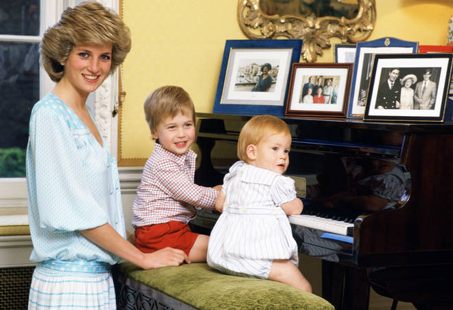 Princess Diana, Prince William and Prince Harry in behind-the-scenes footage
