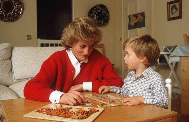 Princess Diana and Prince William in 1985