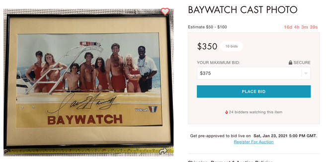 This signed Baywatch cast photo is currently selling for $350 on the Live Auctioneers website