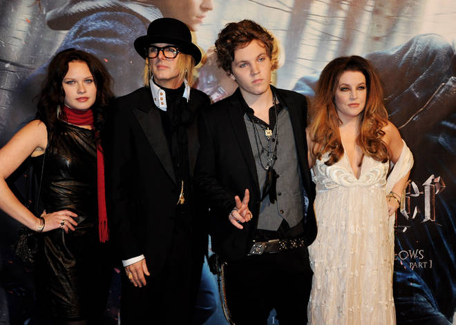 The King's grandson Ben Keough (centre right) died from a self-inflicted gunshot wound in 2020 and was laid to rest next to his grandfather Elvis Presley at Graceland, three months after his passing.