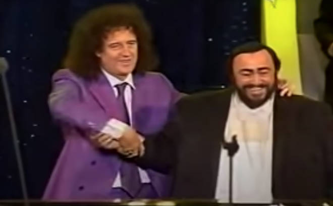 """Brian and Roger Taylor were in Italy for Pavarotti&squot;s famed """"Pavarotti and Friends"""" annual benefit concert in 2003."""