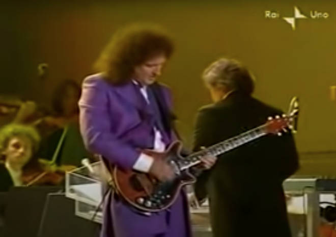 Earlier in the evening, in front of an audience of 25,000 people and televised across Italy, Queen's Brian May and Roger Taylor had opened the show with a rousing performance of 'We Will Rock You'