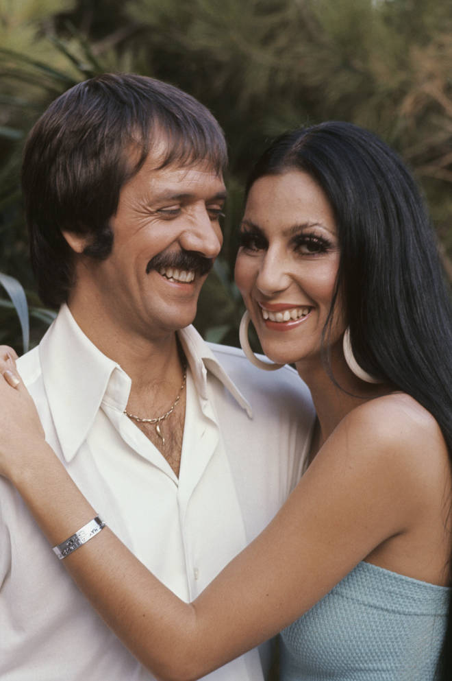 "In front of millions of people at his live televised funeral in 1998, Cher gave the eulogy and said her ex-husband was ""the most unforgettable character I&squot;ve ever met"". Pictured c.1970"