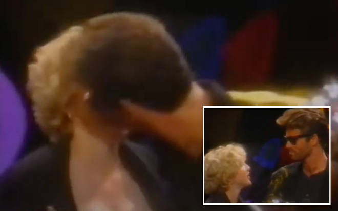 George Michael was being presented the MTV Lifetime Achievement Award – also known as the Video Vanguard Award – when he gave Madonna a sensual kiss on the lips.