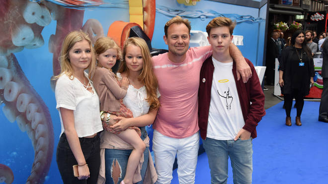 Jason Donovan and his family in 2016