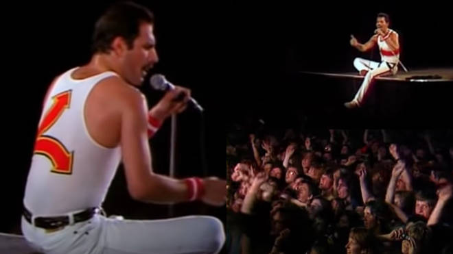 Queen were playing a concert at Milton Keynes Bowl in Buckinghamshire on June 5 when Freddie Mercury sat on the stage to play a singing game with the crowd