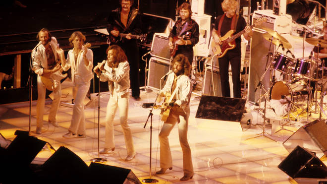 The UNICEF event came nine years before the Bee Gees would officially announce he would be joining them as the fourth member of the band. Pictured performing as a foursome in 1979.