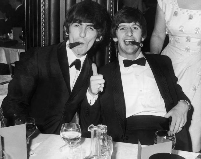 """""""He left this world as he lived in it, conscious of God, fearless of death, and at peace, surrounded by family and friends,"""" the Harrison family said in a statement. Pictured, George and Ringo in 1964."""