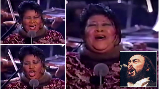 With just one listen to Pavarotti's rehearsal tape and with no time to practice, Sting introduced a brave Aretha to the stage to sing 'Nessun Dorma'