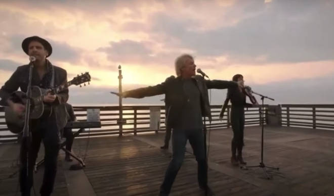 The sun rose at Jon Bon Jovi and his band sang the Beatles classic on a dock in Miami, Florida