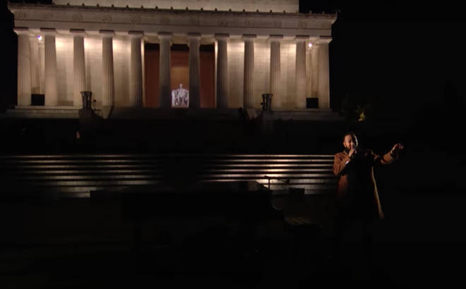The star sang a stripped back version of the 1965 hit in front of Lincoln Memorial and stood and began singing the song with no accompanying music as his voice echoed out across the empty grounds.