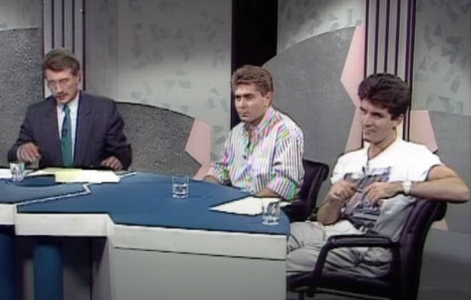 The clip from the Channel 4 programme shows a 28-year-old Simon Cowell in an '80s t-shirt and his trademark bouffant hair as he admonishes the producers of TV show The Singing Detective.