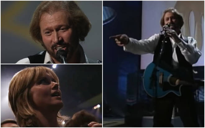 As the Bee Gees begin to play the classic track 'Grease', the lighting crew shone a spotlight on Olivia Newton-John in the audience.