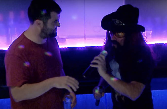 Dressing up as an old school rocker with long hair, full beard and a leather waistcoat, Jon went undercover as a barman in the karaoke bar who would increasingly get on his punters nerves.