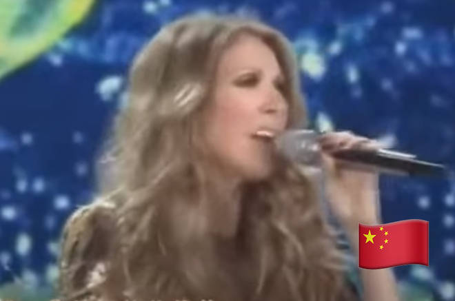 Celine Dion sings in Mandarin in the video (pictured)