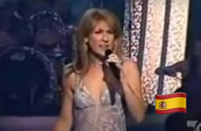 The compilation video opens with Celine singing in Spanish (pictured)