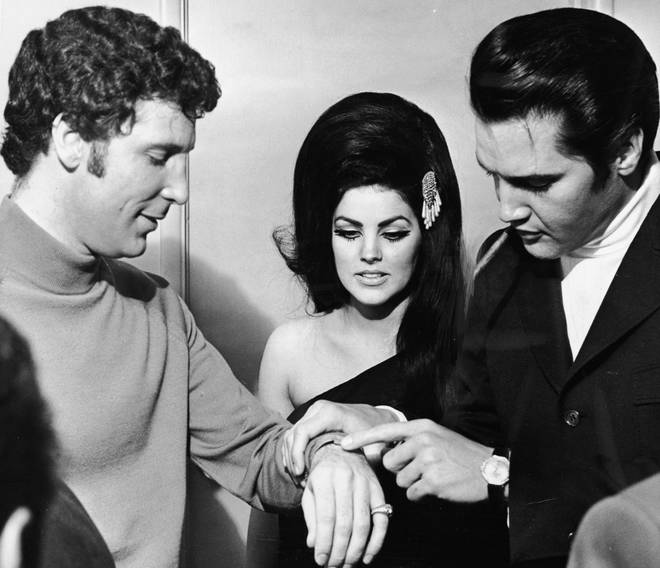 """""""We would all get together at a friend's house and they would sing songs at the end of the night. Tom liked to sing Elvis' """"One Night With You"""" Pictured: Tom Jones With Elvis And Priscilla Presley in 1971."""