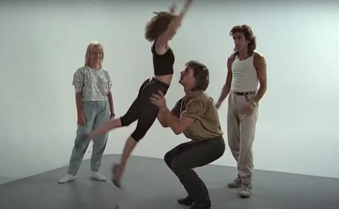 In unearthed footage Jennifer Grey and Patrick Swayze can be seen practising their sizzling moves while being overseen by a pair of Dirty Dancing's dance coaches.