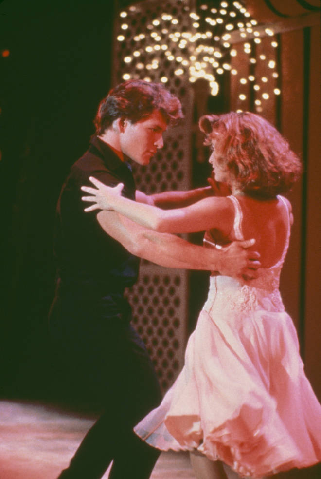 Patrick Swayze and Jennifer Grey perform on the set of 'Dirty Dancing' in 1987.