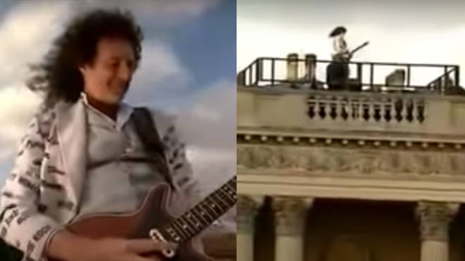 The Guitarist performed the lonely solo high above the city and was accompanied by the orchestra far below him in the Palace gardens, whilst being projected live to millions of people across the world.