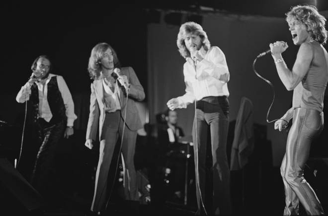 Andy Gibb (far left) performing with the Bee Gees in 1979