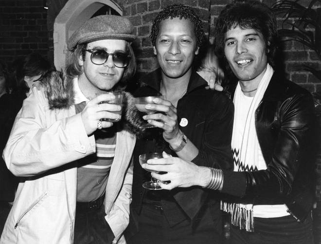 A close friend of Freddie Mercury has revealed how the Queen frontman once thought about forming a supergroup with Rod Stewart and Elton John. Pictured: Freddie and Elton in 1977