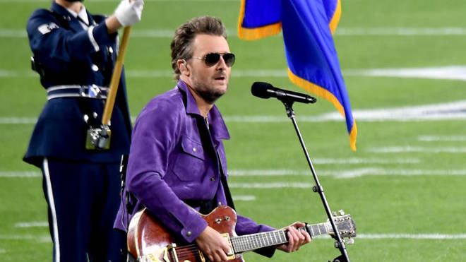 Eric Church performs at the Super Bowl LV