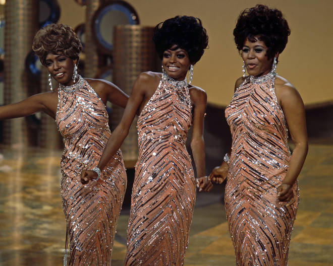 The Supremes, Cindy Birdsong, Diana Ross and Mary Wilson during a live concert performance, circa 1965.