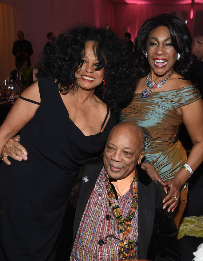 Diana Ross, Quincy Jones, and Mary Wilson pictured at the Elton John AIDS Foundation Academy Awards Viewing Party on February 24, 2019