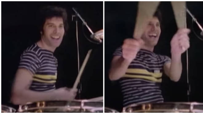 Freddie Mercury playing the drums during a rehearsal for Queen's News Of The World tour at Shepperton Studios in October 1977.