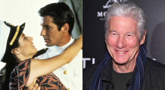 Richard Gere in An Officer and a Gentleman in 1982 and (right) in January 2020