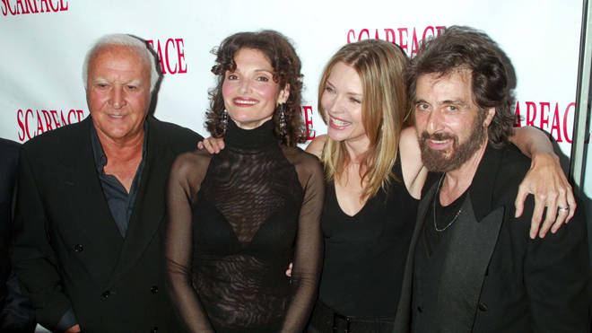 Robert Loggia, Mary Elizabeth Mastrantonio, Michelle Pfeiffer and Al Pacino pictured at the Scarface 20th Anniversary Re-release Celebration in 2003