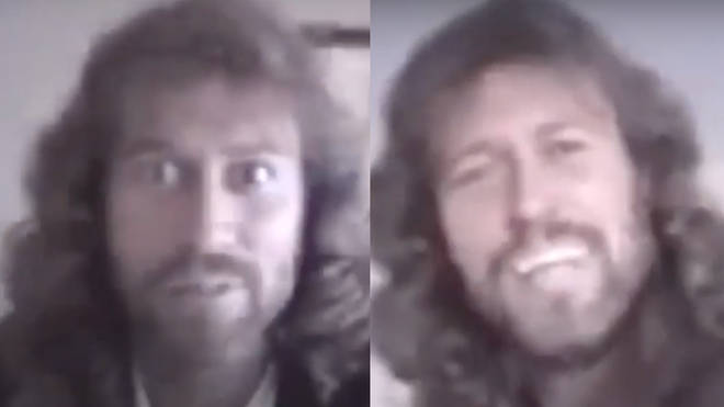 Barry Gibb can be seen in the video trying to make his son laugh as the youngster films him on a video recorder at home.