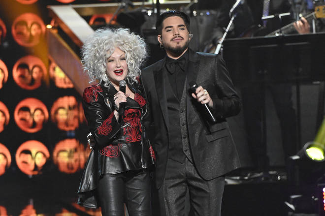 Adam Lambert gave a performance of the famous hit in tribute to Cher, and was later joined on stage by Cyndi Lauper for a duet of Sonny & Cher's famous 'I Got You Babe' (pictured).