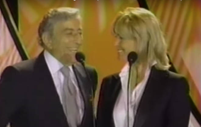 Celine Dion was introduced on stage by singing legend Tony Bennett and actress Bo Derek