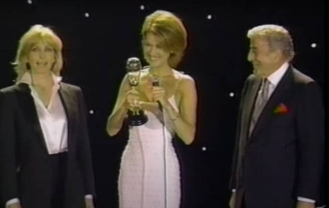 After her performance Celine Dion received her World Music Award for the best-selling Canadian artist of 1996