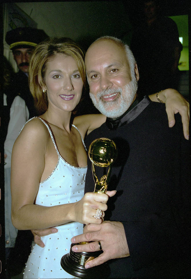 Celine Dion with her husband René Angélil at World Music Awards in 1996.