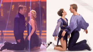 Jane Torvill and Christopher Dean recreated their famous 1984 Olympic dance routine (right) on Dancing On Ice in 2014 (left)