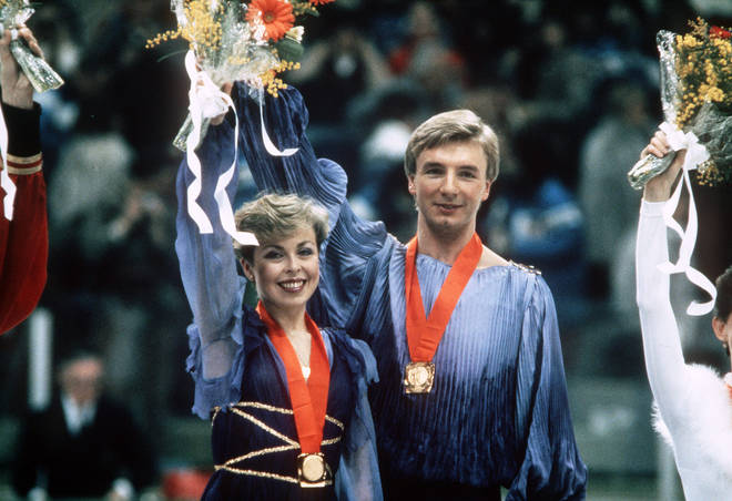 A UK poll conducted by Channel 4 in 2002 saw the glorious gold-winning moment be voted number 8 in the top 100 Greatest Sporting Moments. Pictured, Jayne Torvill and Christopher Dean winning gold in 1984.