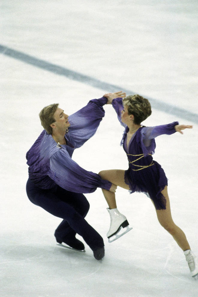 Jayne Torvill and Christopher Dean on their way to winning gold medals in the Ice Dancing event during the Sarajevo Winter Olympic Games.