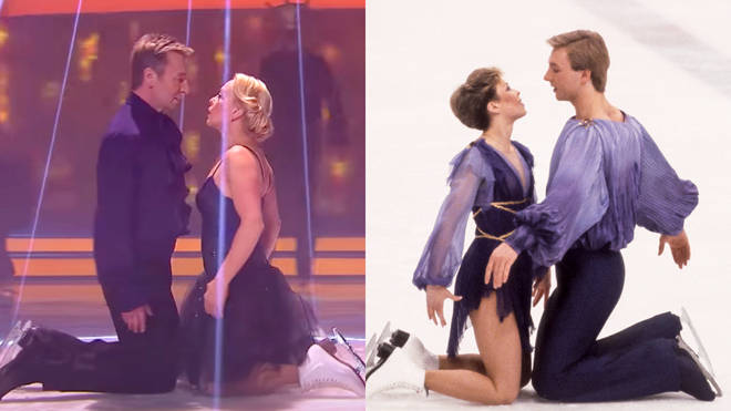 Jayne Torvill and Christopher Dean recreated their famous 1984 Olympic dance routine (right) on Dancing On Ice in 2014 (left)