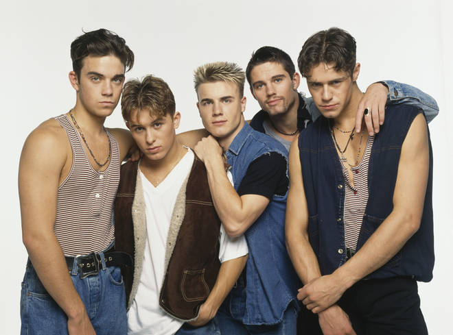 Robbie Williams was born in Stoke-on-Trent and became an overnight sensation with boyband Take That in 1990. Pictured left to right: Robbie Williams, Mark Owen, Gary Barlow, Jason Orange and Howard Donald in 1992.