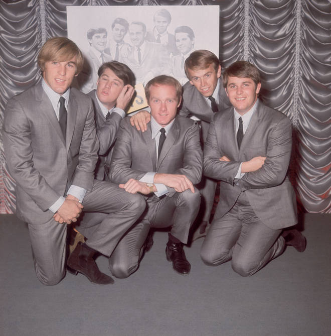 Brian Wilson (second left) and The Beach Boys pictured in London in 1964