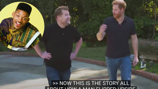 Prince Harry raps 'Fresh Prince of Bel-Air' theme tune in James Corden interview - video