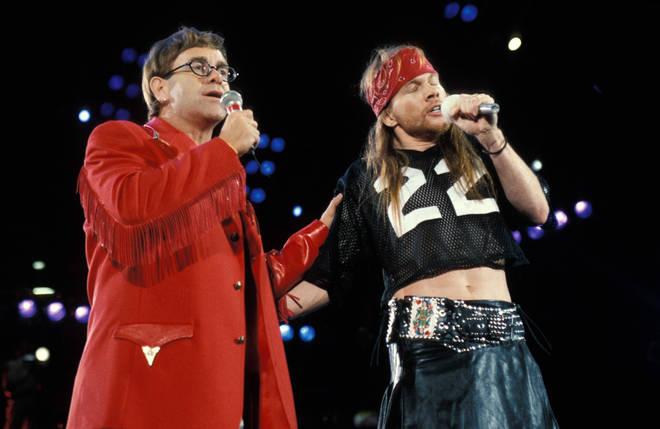 Elton John and Axl Rose performing live onstage at Freddie Mercury Tribute Concert